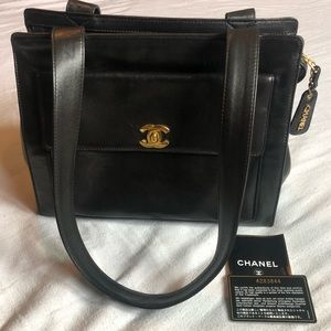 Authentic Chanel turnlock shoulder bag